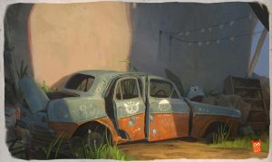 abandoned car by kepondangkuning