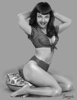 Betty Page Value Study by Sabtastic