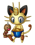 Meowth and Weeeeedle by Kattling
