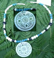 Tribal Spiral Shield Necklace by SacredJourneyDesigns