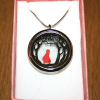 Red Riding Hood Papercut Pendant by ladysilver2267