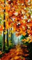 Forest path by Leonid Afremov by Leonidafremov