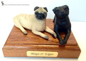 Maya and Edgar Pewdiepie Pug dogs main on base by ELS88