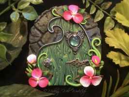 Polymer Clay Fairy Door Pinks/Greens by missfinearts