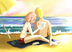 Narusaku: Vacation Sunmilk by Celious