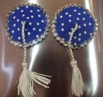 Blue and white polka dot nipple pasties by IAteAllMyPaste