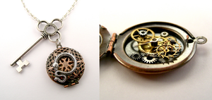 Steampunk Snake Key Locket Pendant by SteamSect
