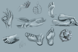 hands and feet study by Evoke93