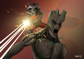 Guardians of the Galaxy: Rocket and Groot! by tonyzork