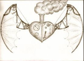 Steampunk flying heart by originalclosetnerd