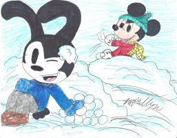 Snowball fight by brookellyn