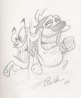 Ren and Stimpy Sketch by Hesstoons