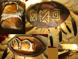 Tribal LARP Leather Shield - final by BenGunI
