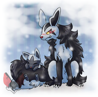 Mightyena And Poochyena by FENNEKlNS