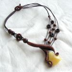 Amber and Wood Necklace 2819 by AmberSculpture