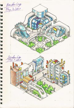 Isometric Landscape sketches- 6 by Brand-194