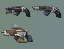 Western scifi weapons by sketchiest-ink