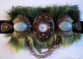 Steampunk fur watch choker 2 by Pinkabsinthe