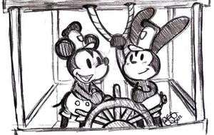 Steamboat Willie with Mickey and Oswald by Celebi9