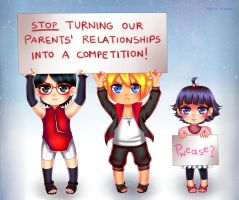 Commission: Chibi Sarada, Boruto and Himawari by manu-chann