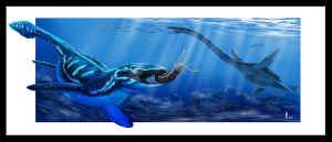 Cretaceous marine reptiles by dustdevil