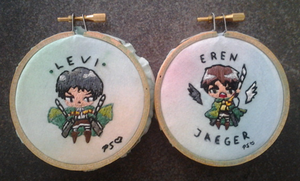 Levi and Eren Embroidery by CutiePoppers