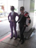 Female Rorschach and Comedian Cosplay by gir-is-me