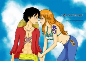 Can I kiss you? Luffy x Nami Fanart Color by orange-star-destiny