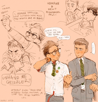 High School AU Newt + Hermann by Barukurii