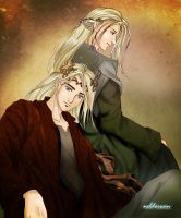 Thranduil and Legolas by Neldorwen