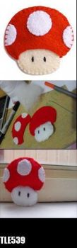 MUSHROOM 1 up mario red by thiloveseric