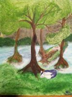 forest painting by rainamonster97