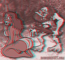 3D Anaglyph - Kinky Caveman by RossRadiation