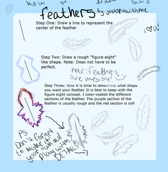 How to Draw Basic Feathers Tut by BusybeeSarahD
