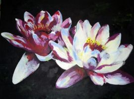 Acrylical Waterlilies by celinissime