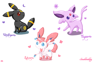 Umbreon, Espeon, Sylveon Sketches~ by Sunshineshiny