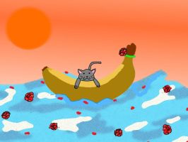 Cat on a Banana Boat just Cus by PrincessDevin302