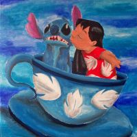Lilo and Stitch in Tea Cup by billywallwork525