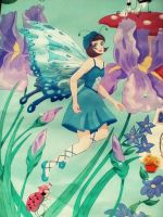Blue Paris Fairy and Ladybug by Sherryhill