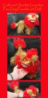Gold and Scarlet Foo Dog Guardian Posable Art Doll by Eviecats