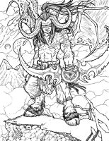 Illidan Stormrage Lineart by RizyuKaizen