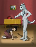 A wolf lecture his bad human by Kaorikiki