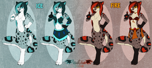 CLOSED 48 Hour Auction - Fire + Ice Mage Leopards by VibrantEchoes