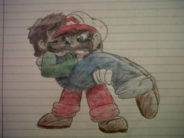 Mario carries wounded Luigi by LoonataniaTaushaMay
