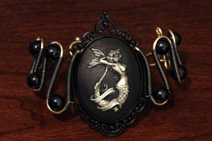 Steampunk Goth Jewelry - Bracelet - Mermaid Cameo by CatherinetteRings