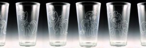 My Little Pony Pint Glass set by Yukizeal
