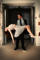 Some girls always get scared in elevators... by lakehurst-images
