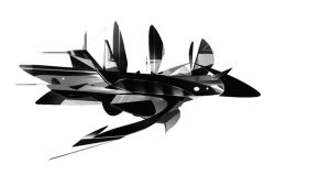Spaceship Black and white by Maracass
