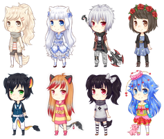 Mini chibis batch by Riuori