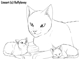 Free Cat and Kittens lineart by fluffylovey